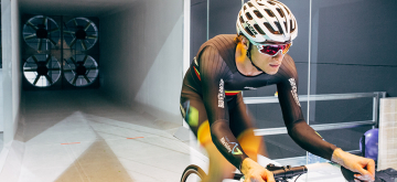 De windtunnel van Flanders Bike Valley in actie.